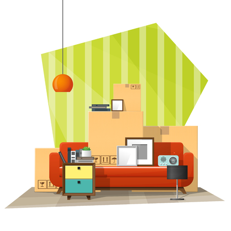 Moving home concept background with cardboard boxes and furniture in new living room illustration