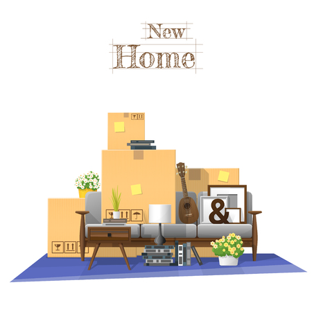 Moving home concept background with cardboard boxes and furniture in new living room , vector illustration. Illustration