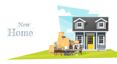 Moving home concept background with small house and furniture illustration