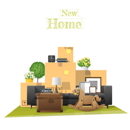 Moving Home Concept Background With Cardboard Boxes And Furniture In New  Living Room , Vector Illustration