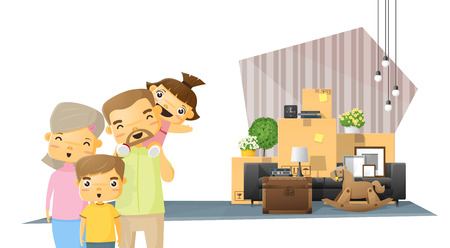 Moving home concept background with happy family and furniture in new living room , vector , illustration