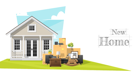 Moving home concept background with small house and furniture.