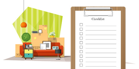 Moving home concept with survey clipboard and pile of furniture background , vector , illustration