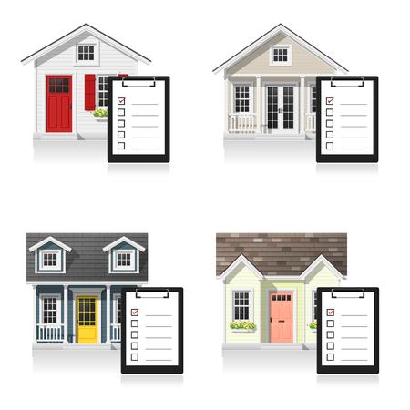 Reeks kleine huizen en klemborden op witte achtergrond, vector, illustratie worden geïsoleerd die