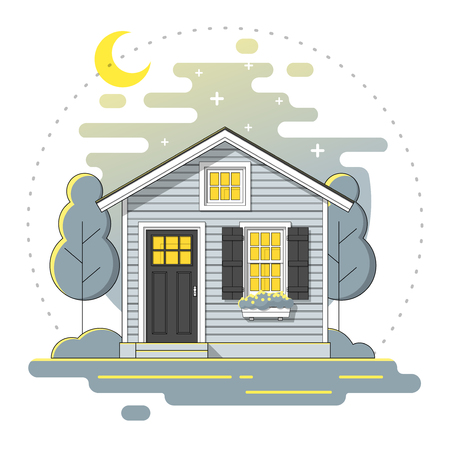 Small house and beautiful rural landscape night scene background in flat line art style.