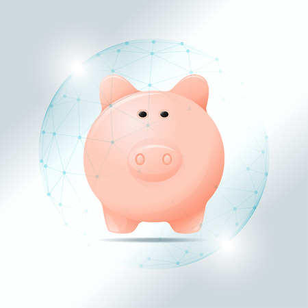 Financial management concept with piggy bank protected in polygonal sphere shield , vector , illustration.