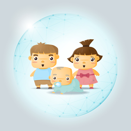 Happy family concept with children protected in polygonal sphere shield , vector , illustration