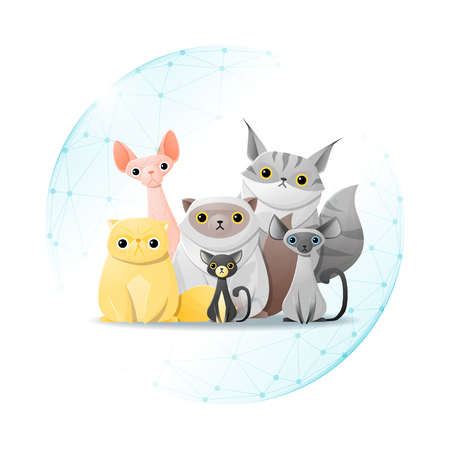Pet care concept with cats protected in polygonal sphere shield vector illustration.