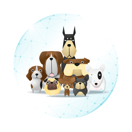 Pet care concept with dogs protected in polygonal sphere shield vector illustration. Illustration