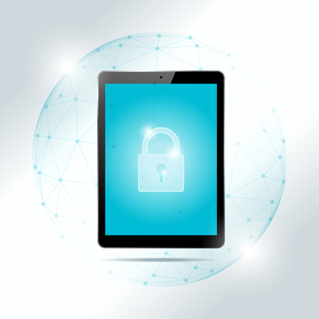Cyber security concept with tablet protected in polygonal sphere shield vector illustration.