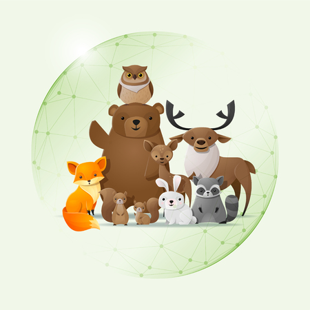 Environmental conservation concept with wild animals protected in polygonal sphere shield illustration.