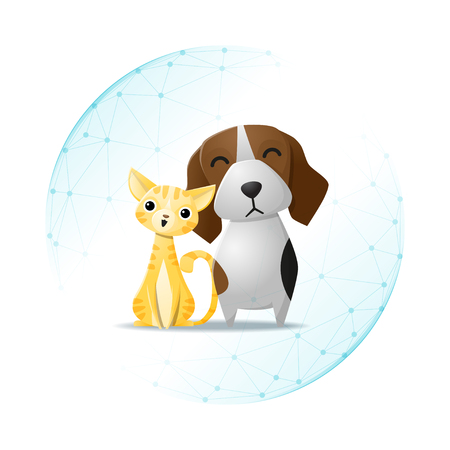 Pet care concept with cat and dog protected in polygonal sphere shield, illustration.