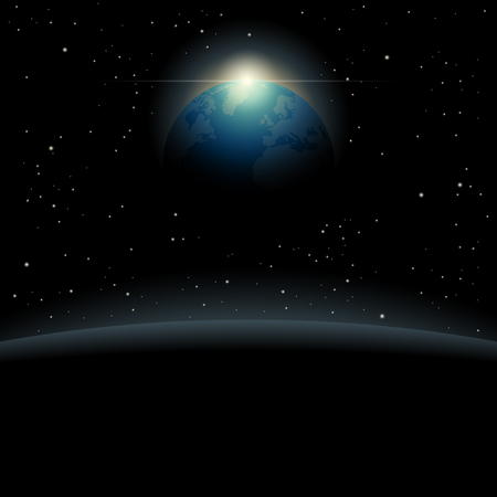 View of the planet Earth from outer space background vector illustration. Illustration