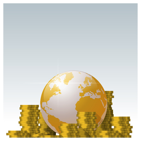 Financial concept with piles of coin and golden world vector illustration