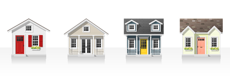 Elements of architecture with small houses isolated on white background Vector illustration. Stock Illustratie