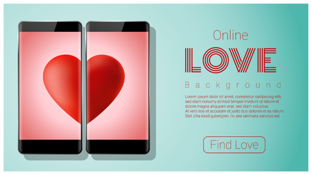 Online dating concept Love has no boundaries with two smartphones matching red heart on screen vector illustration
