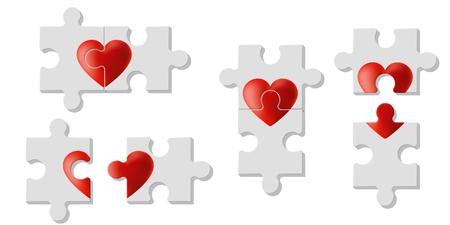Set of heart puzzles represent Love , vector , illustration