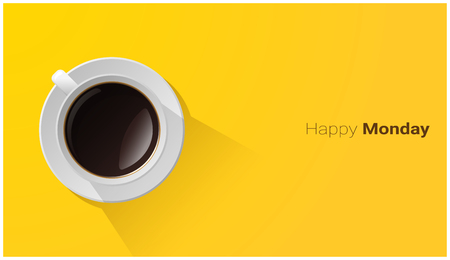 Happy Monday with top view of a cup of coffee on yellow background , vector , illustration