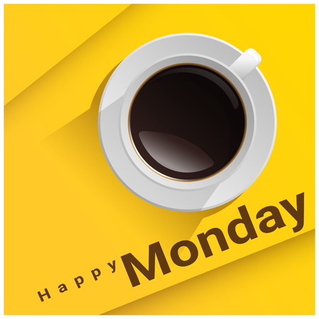 Happy Monday with top view of a cup of coffee on yellow background vector illustration