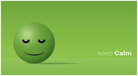Emotional background with calm green face emoticon. Ilustração Vetorial