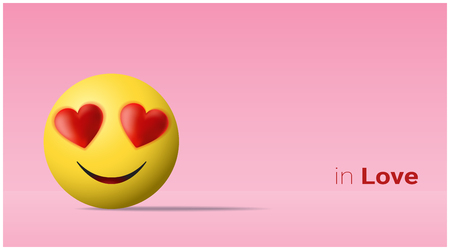 Emotional background with yellow face in love emoji , vector , illustration Vectores