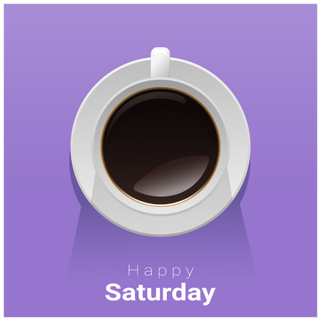 Happy Saturday with top view of a cup of coffee on purple background , vector , illustration Иллюстрация