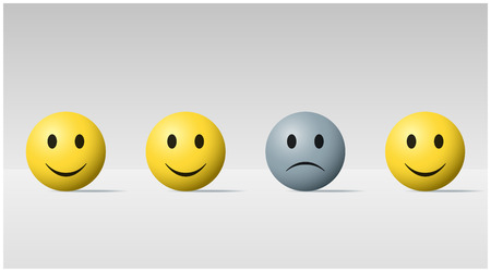 Emotional background with sad face ball among happy face balls , vector , illustration Vectores