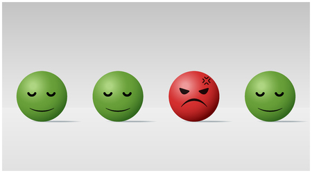 Emotional background with angry face ball among calm face balls , vector , illustration