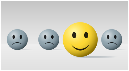Emotional background with happy face ball among sad face balls , vector , illustration