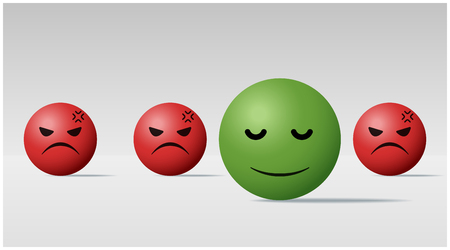 Emotional background with calm face ball among angry face balls  vector  illustration  イラスト・ベクター素材