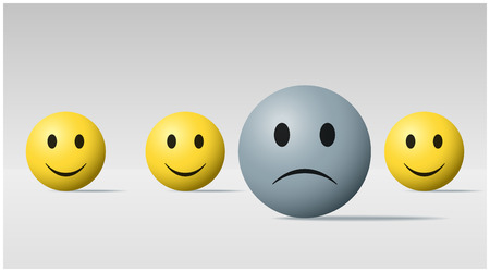 Emotional background with sad face ball among happy face balls  vector  illustration Illustration