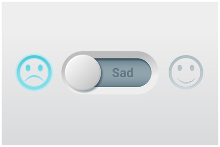 Emotional background with switch control turn off represent sad emotion , vector , illustration