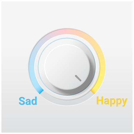 Emotional background with sad and happy switch control knob.