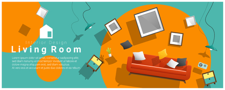 Horizontal interior banner sale with living room furniture hovering on colorful background , vector , illustration Archivio Fotografico - 99996096