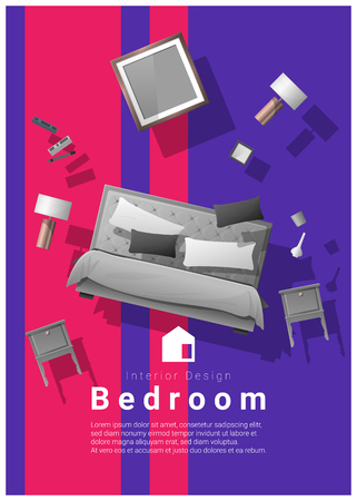colorful furniture for sale. Vector - Vertical Interior Banner Sale With Bedroom Furniture Hovering On  Colorful Background , Vector Illustration For \