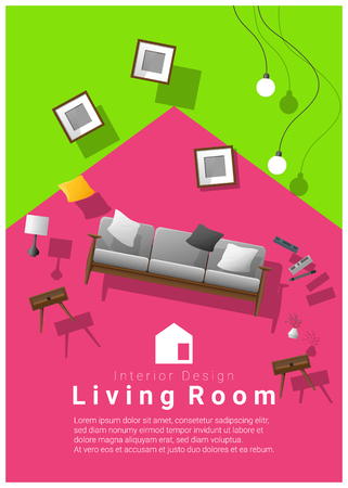 vertical Interior banner sale with living room furniture hovering on colorful background , vector , illustration Illustration