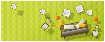 Interior concept background with furniture hovering into new bedroom  vector  illustration
