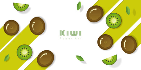 Fresh kiwi fruit background in paper art style , vector , illustration Illustration