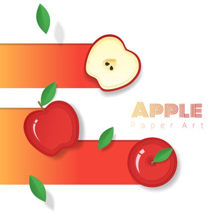 Fresh red apple fruit background in paper art style , vector , illustration Ilustração