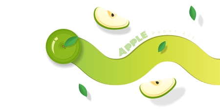 Fresh green apple fruit background in paper art style , vector , illustration