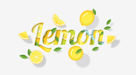 Word lemon design decorated with lemon fruits and leaves in paper art style , vector , illustration