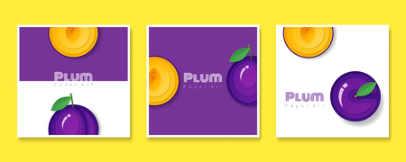 Set of fruit banners with plum in paper art style , vector , illustration Çizim