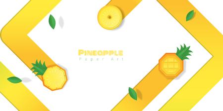 Fresh pineapple fruit background in paper art style , vector , illustration