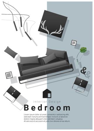 Vertical interior banner sale with bedroom furniture hovering on colorful background , vector , illustration