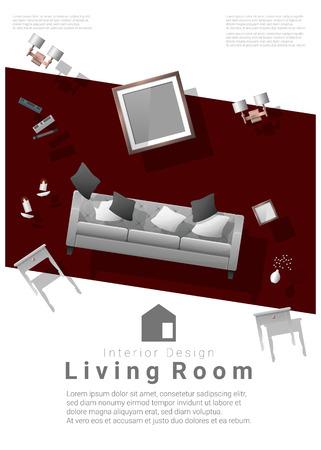 vertical Interior banner sale with living room furniture hovering on colorful background , vector , illustration Stock Illustratie