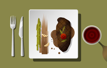 Grilled beef, strip loin steak and spices served on plate with red wine , vector , illustration