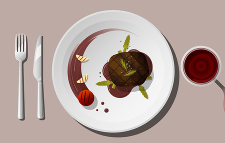 Grilled beef, tenderloin steak and spices served on plate with red wine , vector , illustration