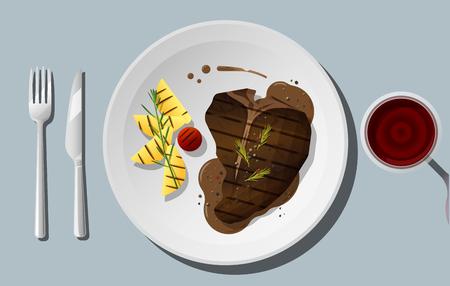 Gegrild rundvlees, t-bone steak en kruiden geserveerd op plaat met rode wijn, vector illustratie