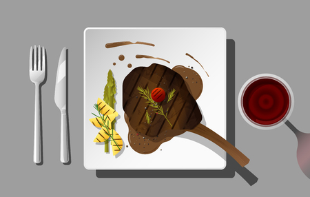 Grilled beef, tomahawk steak and spices served on plate with red wine , vector , illustration
