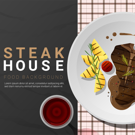 Grilled beef, t-bone steak and spices with red wine on dark background , vector , illustration